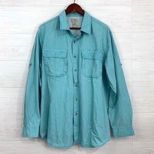 LL Bean Vent Back Light Blue Button Up Shirt